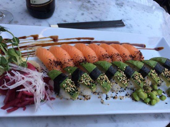 Thai House Wok: Min sushi som skulle vara helt fri från soja.