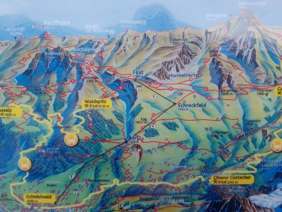 Grindelwald, Svizzera: Wanderkarte des Firstgebiets