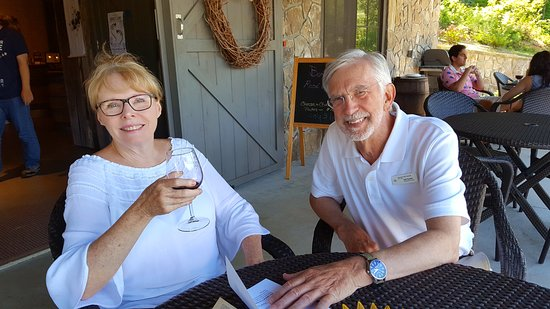 Tiger, GA: Spending time with the owner, Carl. Very friendly guy who answered lots of my wine questions.