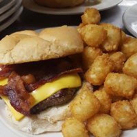 Akeley, MN: Bacon Cheese Burger With Tots