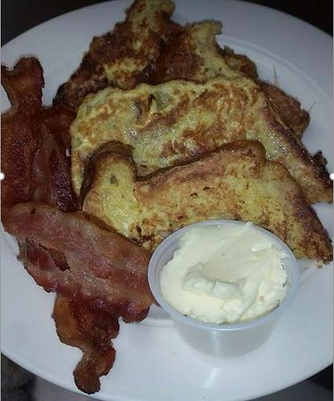 Akeley, MN: Apple Fritter French Toast with Bacon