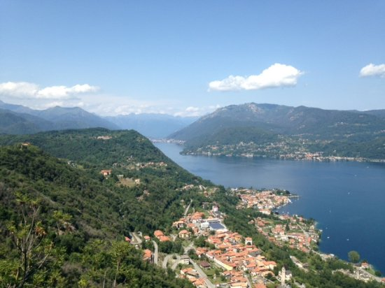 Madonna del Sasso, Italy: View northwards along the lake with Pella below