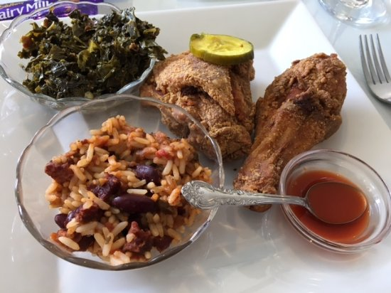 Serenity Tearoom & Fine Dining : Excellent low country chicken, beans & rice, collards and hot sauce