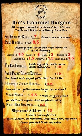 Cranbrook, Canadá: Our Menu. All home made, from scratch. Page 1 of 3