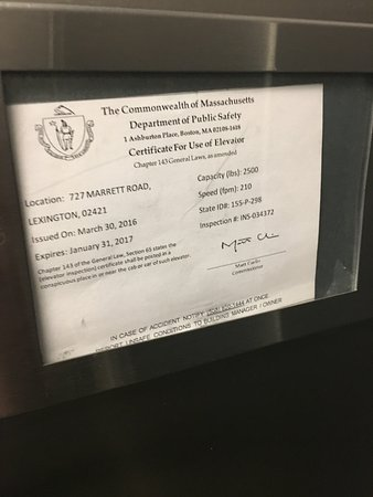 Lexington, MA: Slightly worrying that lift certificate expired in January this year (in August now)