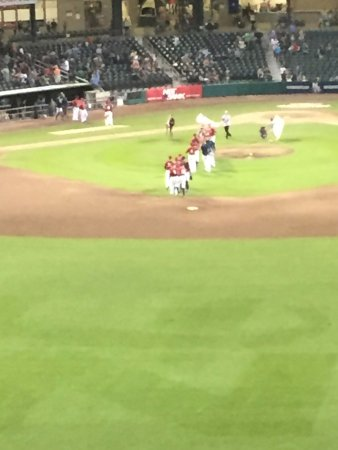 Hilton Garden Inn Manchester Downtown: Fisher Cats celebrate a win.