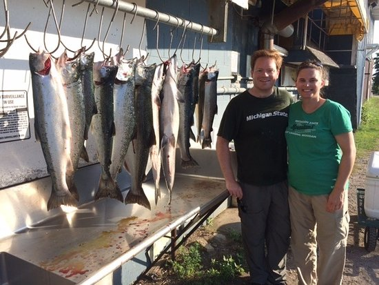 Great Lakes Guide Service: 12 fish in an hour and a half including a 20 lb king salmon!
