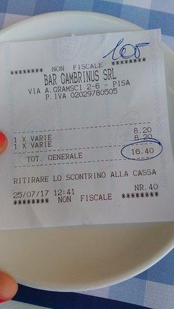 Caffe Gambrinus: Pregunté si de verdad eso era correcto y pedí la carta de precios... Era un trozo de papel!!!