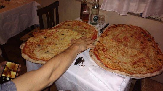 Rodengo Saiano, Italia:  Schiacciate, servite su due piatti .1 Margherita,1 Acciughe , 1 caffè,1 birra ,1 acqua = 26  eu
