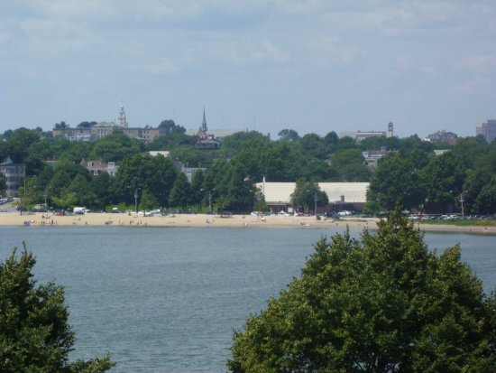 Dorchester Heights National Historic Site: The monument as viewed from top of Fort Independence Castle Island.