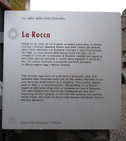 Rocca di Bergamo : Cartel informativo