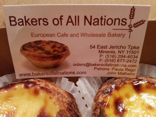 Mineola, NY: These Portuguese egg tarts are featured on their business cards! That good!