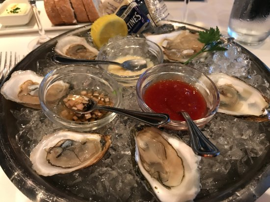 Eddie V's Prime Seafood: 5 oysters to start ... with a mix of oysters, to taste various ones.
