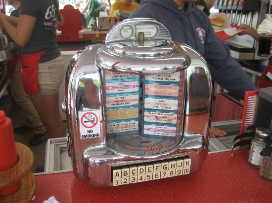 White Turkey Drive-In: old time counter juke box...Works....