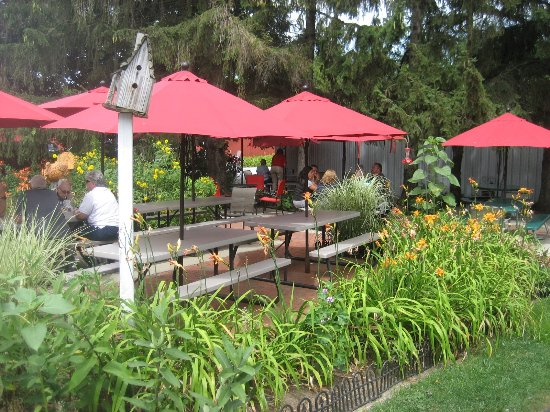 White Turkey Drive-In: beautiful outdoor garden dining area