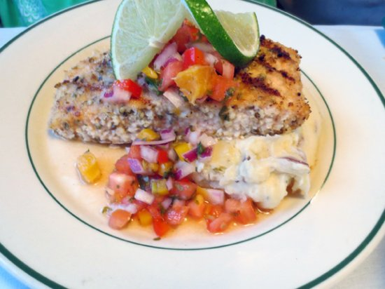 Raquette Lake, NY: Coriander Encrusted Salmon with fruit salsa