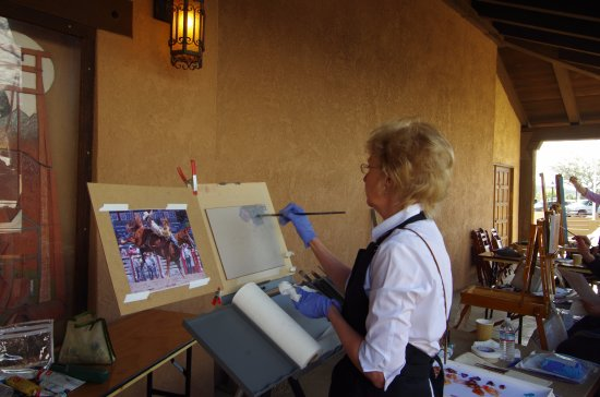 Wickenburg, Arizona: Lindsey Bittner Graham works on her quickdraw at the 2017 Cowgirl Up!