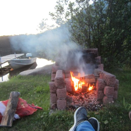 Piseco, NY: fire in the evening by the lake