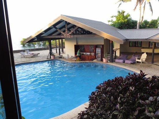 Rakiraki, Fiji: From inside the restaurant, with its many wide open windows, looking down at the swim up bar.