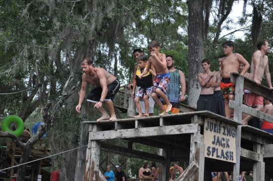 Branford, FL: All 3 boys.. getting ready to jump off together.