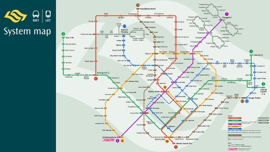 SMRT System Map Picture Of Singapore Mass Rapid Transit SMRT - Singapore map