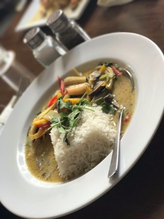 Redbourn, UK: Green thai prawn curry with basmati rice  - one of our popular Summer dishes