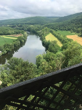 Calvignac, France: View of the Lott river from the Terrace.
