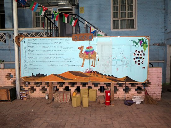 The big board supplying information of popular tour in Turpan