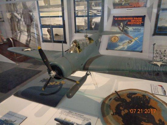 Mount Pleasant, SC: a model World War II plane in a display case