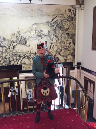 Dalhousie Castle : Stairs as you come in with the piper