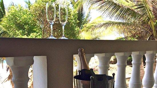 Petite Anse Beachfront Hotel & Restaurant Grenada: Champagne outside our room