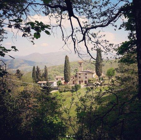 Vicchio, Italie : Barbiana : vue depuis le chemin qui y mène