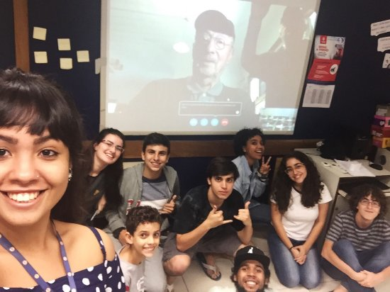 Livingston County War Museum: This is our 97 year old World War II Navy pilot speaking to Brazil on Skype in the Classroom.
