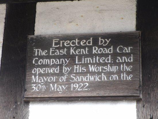 Sandwich Toll Bridge & Barbican: East Kent Road Car Co Ltd building plaque