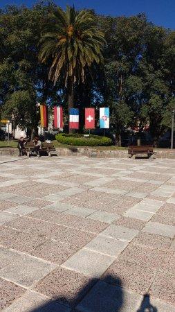Banderas en la plaza de Nueva Helvecia