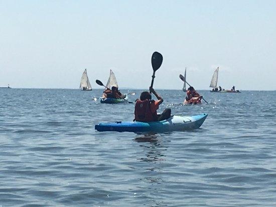 Indian River Marina: Some of the kids enjoying kayaking around Cedar Island