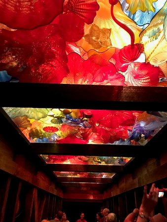 """Loretto, KY: A Chihuly ceiling. Looking closely for the angels snatching the """"Angel's Share""""."""