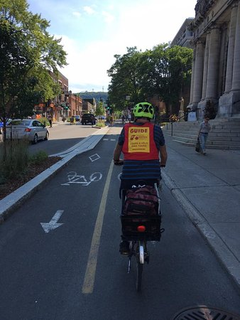 Montreal, Canada: Our storyteller, Mike, leading the pack on two-way bike lanes!