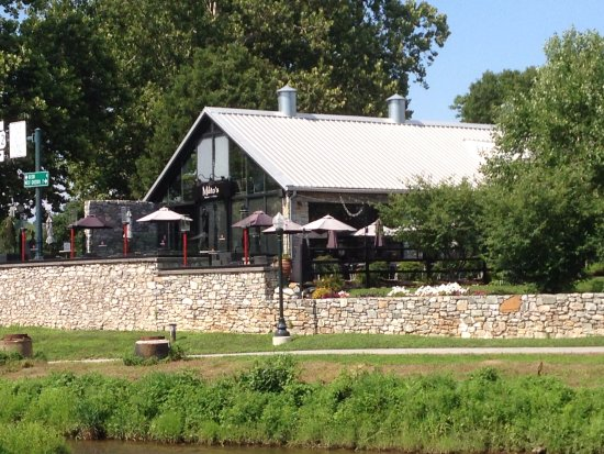 Downingtown, PA: View from the river - nice patio outside