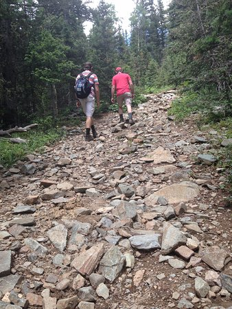 Taos County, NM: Rocky trail leading to Bull of the Woods Pasture