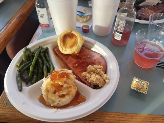 Deilicous Ham Fresh Beans And Mashed Potatoes Picture