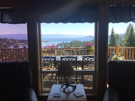 Flathead Lake looking south from the shared living room at Somers Outlook Inn Bed and Breakfast