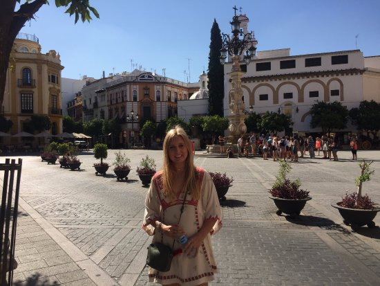 Plaza del Triunfo: My daughter with the plaza behind
