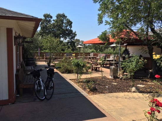Ace It Bike Tours: Sunce benches outside the tasting room