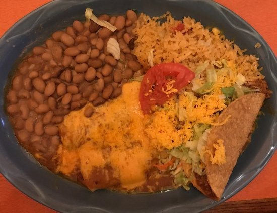 Falcon, CO: #19 Plate - 2 Enchiladas, 1 Taco, Whole Beans and Rice - Very Good!