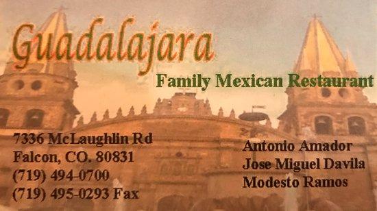 Guadalajara Restaurant: Business Card
