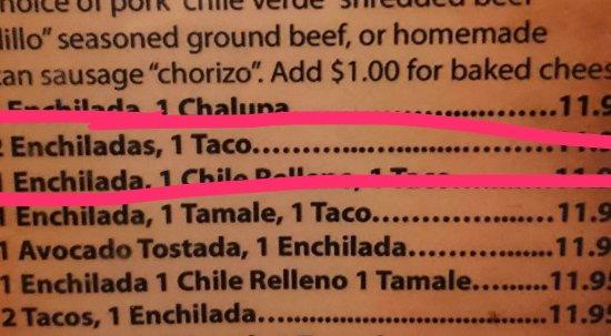 Guadalajara Restaurant: Enchilada Plate Menu - #19 circled - Yum!