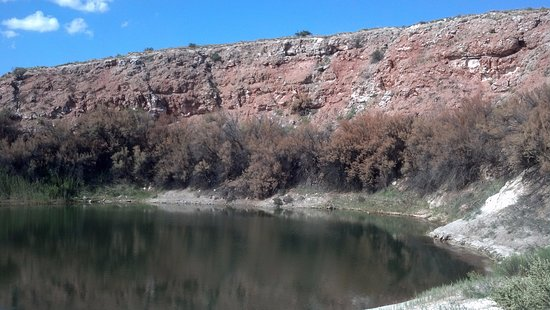 Bottomless Lakes State Park: Picturesque Cliffs Against the Blue Sky