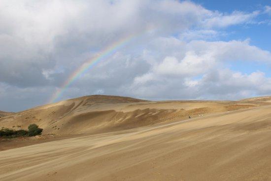 Pukenui, New Zealand: Dunes et arc en ciel
