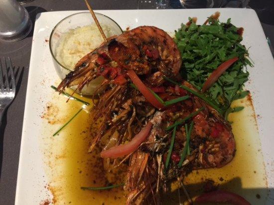 Ittre, Belgium: Gambas d'argentine sauce vierge citron basilic et riz